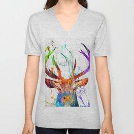 Red Deer Watercolor Grunge Unisex V-Neck