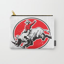 Rodeo Cowboy riding a rhino Carry-All Pouch