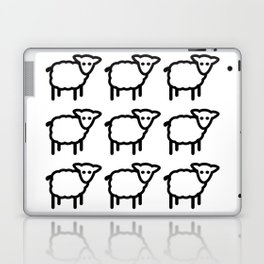 Cute Transparent Sheep Flock in Rows Monotone Light Laptop & iPad Skin