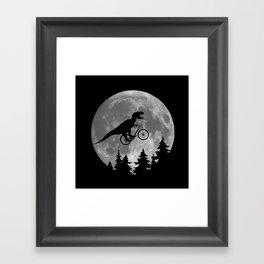 Biker t rex In Sky With Moon 80s Parody Framed Art Print