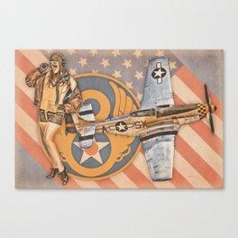 Aviation Pinups - P-51 Mustang Canvas Print
