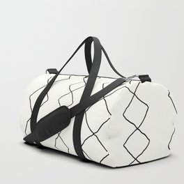 Moroccan Diamond Stripe in Black and White Duffle Bag