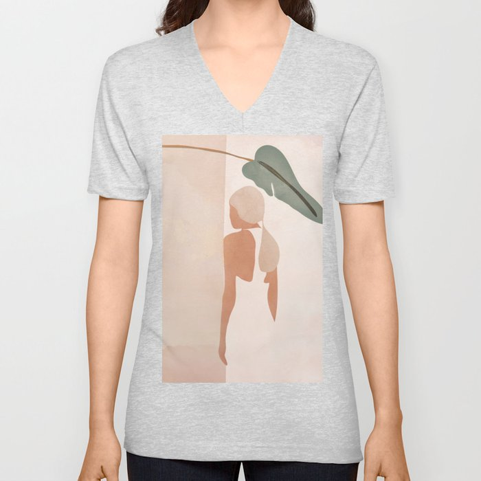 Abstract Woman in a Dress Unisex V-Neck