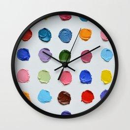 Rainbow Polka Daubs Wall Clock
