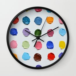 Rainbow Polka Daubs Wall Clock