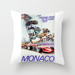 Gran Prix de Monaco, 1971, original vintage poster Throw Pillow
