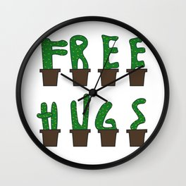 Kaktus free hugs hug me plant stin prickly saying funny gift idea Wall Clock