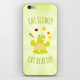 Eat slowly, eat healthy. A PSA for stressed creatives. iPhone Skin