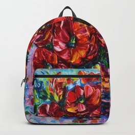 Red Poppies In A Vase Palette Knife Painting Backpack