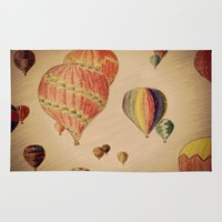 hot air balloons Area & Throw Rugs featuring Hot Air Balloons by AdrienneW
