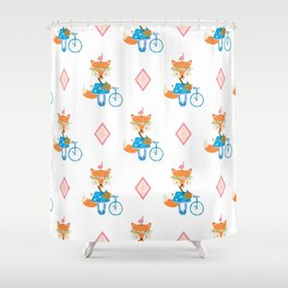 Girl Fox with Pink Diamond Shower Curtain