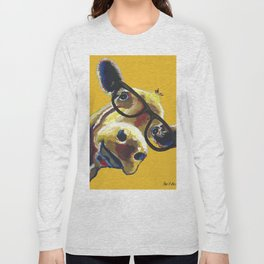 Yellow Glasses Cow, Cow up close glasses Long Sleeve T-shirt
