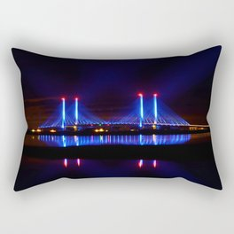 The Indian River Inlet bridge reflecting off the bay as beams of blue light penetrate the night sky Rectangular Pillow