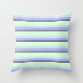 Pastel Blue Green Gray stripeS Throw Pillow