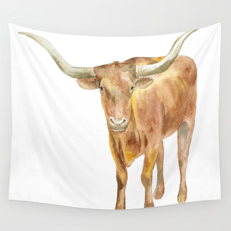Texas Longhorn Steer Watercolor Wall Tapestry by Susanwindsor TPS7915699