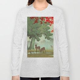 Vintage Japanese Woodblock Print Nara Park Deers Green Trees Red Japanese Maple Tree Long Sleeve T-shirt
