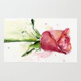 Rose Watercolor Red Flower Painting Floral Flowers Rug
