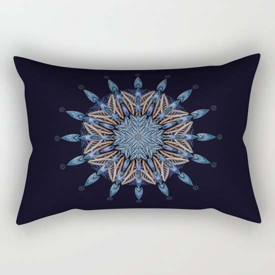 Sphinx Moth Pattern In Blue Rectangular Pillow