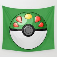 friendship Wall Tapestries featuring Friendship Pokeball by Amandazzling