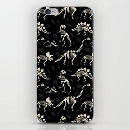 Dinosaur Fossils on Black iPhone Skin