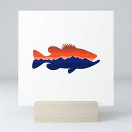 Largemouth Bass Mountains Silhouette Retro Mini Art Print