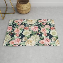 Country chic navy blue pink ivory watercolor floral Rug