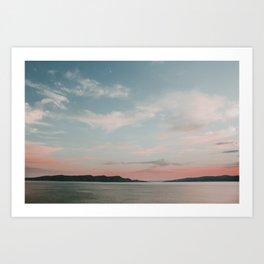 Blue hour at sea after Croatian sunset | Colourful Travel Photography | Rijeka, Istria (Croatia) Art Print