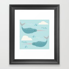 Narwhal blue Framed Art Print