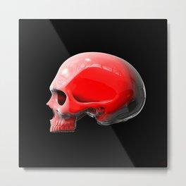 Reflective White Skull Metal Print