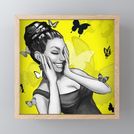 Retro Pinup Girl Crazy With Laughter & Butterflies Framed Mini Art Print