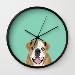 Roscoe - English bulldog dog dogs pet pets gifts for dog person dog people  Wall Clock