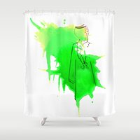 sword Shower Curtains featuring Sword Dance by Noura Bouzo