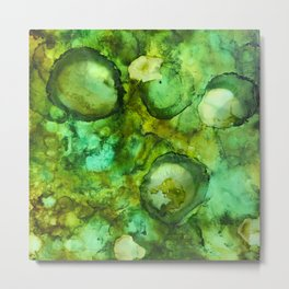 Abstract Green Blobs Metal Print