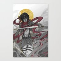 mikasa Canvas Prints featuring Mikasa by lovelylion