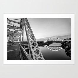 Nashville Korean Veterans Memorial Bridge From Pedestrian Bridge - Monochrome Art Print