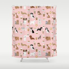 Small Dog Breeds with coffee latte frappe chihuahua bichon spaniel dachshund Shower Curtain