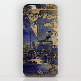 Harry Caray and Wrigley Field of yesterday iPhone Skin
