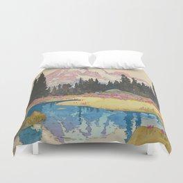 Mount Rainier Vintage Beautiful Japanese Woodblock Print Hiroshi Yoshida Duvet Cover