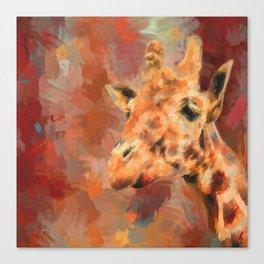 Long Necked Friend Giraffe Art Canvas Print
