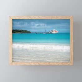 Pier and ferry boat at Kuto Bay in New Caledonia. Framed Mini Art Print