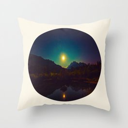 Colorful Night Sky Blue Green Purple With Mountains Throw Pillow