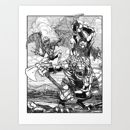 Lone Wolf Battle Art Print