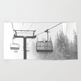 Chairlift Abyss // Black and White Chair Lift Ride to the Top Colorado Mountain Artwork Beach Towel