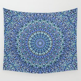 Blue Garden of Life Mandala Wall Tapestry