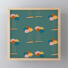 Colorful clouds and rain drops pattern Framed Mini Art Print