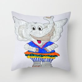 elephant in striped pants Throw Pillow
