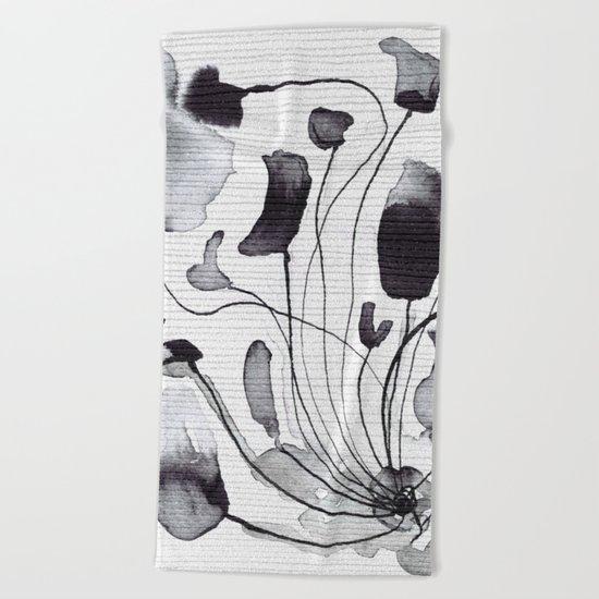 ink flowers Beach Towel