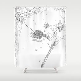 Venice Map White Shower Curtain