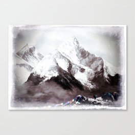 Panoramic View Of Everest Mountain Painting Canvas Print