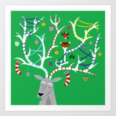 The Reindeer and The Robin Art Print